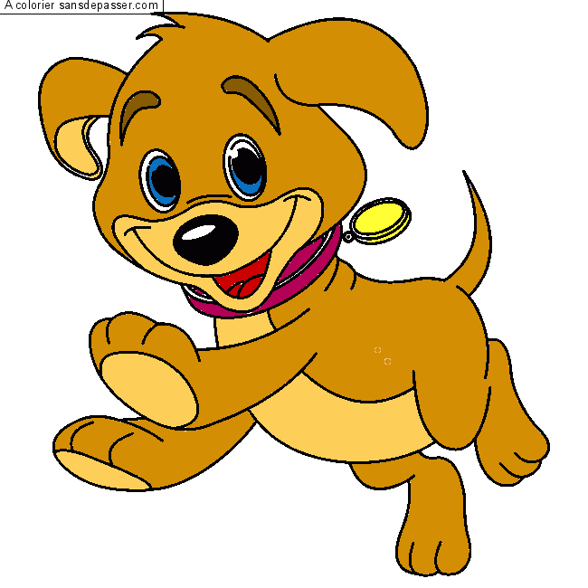 Coloriage chien assis sans d passer - Coloriage chiot ...