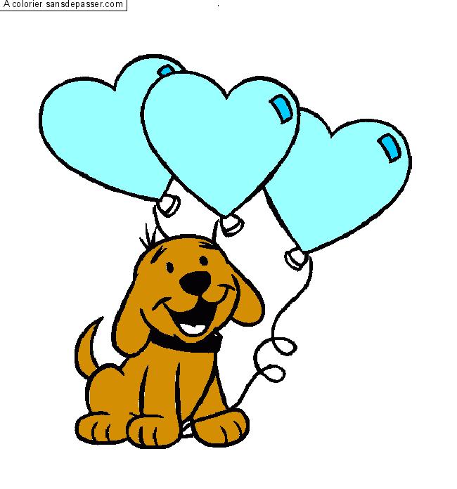 Dessin de chien en couleur - Dessin chien simple ...