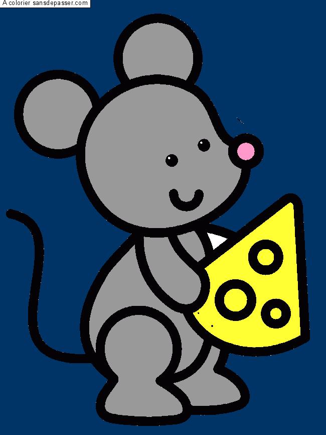 Coloriage petite souris qui tient un fromage sans d passer - Petite souris qui danse ...