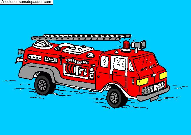 Dessin Colorie Camion De Pompiers Par Un Invite Sans Depasser