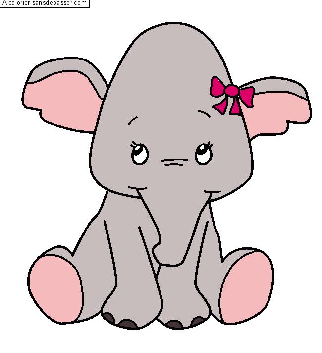 Coloriage petit l phant avec un noeud sans d passer - Dessins d elephants ...