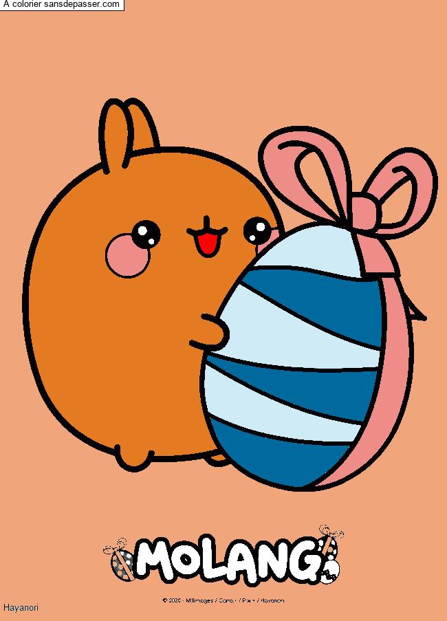 Coloriage Molang et son oeuf de Pâques - Sans Dépasser