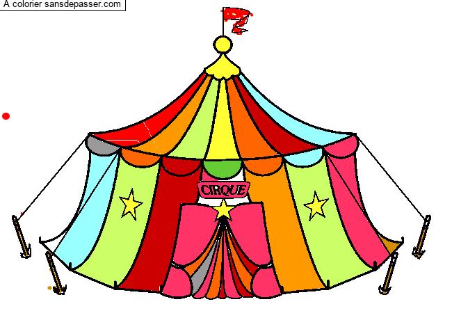 Coloriage Chapiteau du cirque - Sans Dépasser