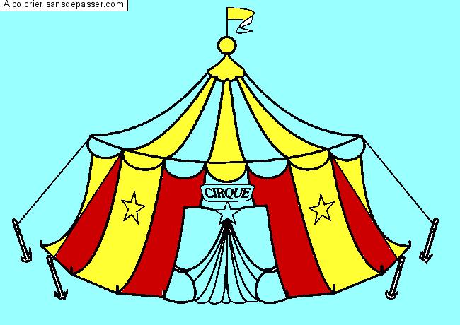 Coloriage chapiteau du cirque sans d passer - Coloriage chapiteau ...