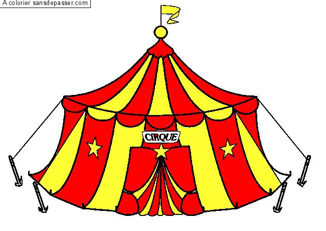 Coloriage Chapiteau Du Cirque Sans Dépasser