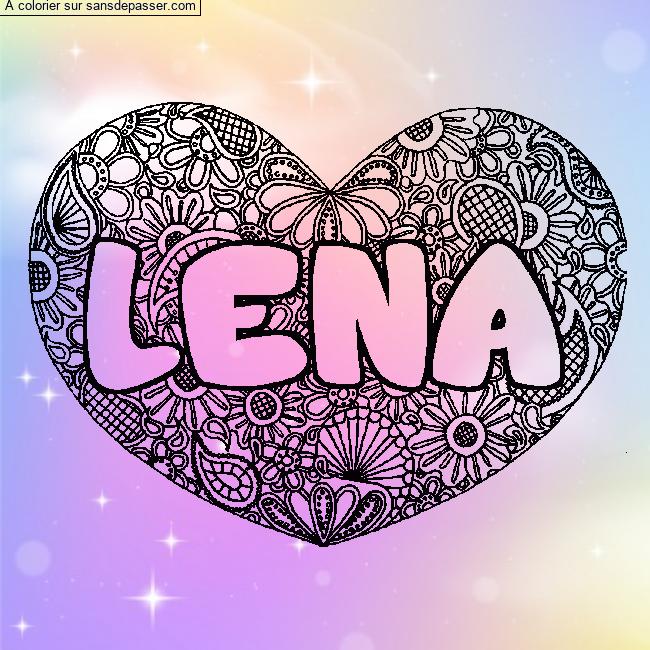 Coloriage prénom LENA - décor Mandala coeur - Sans Dépasser